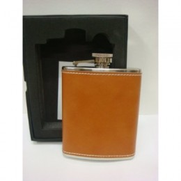 poza FLASK PETERSON TAN LEATHER 6oz