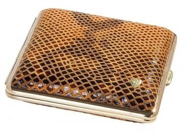 poza Tabachera von Hofe leather nappa miel 18 tigari
